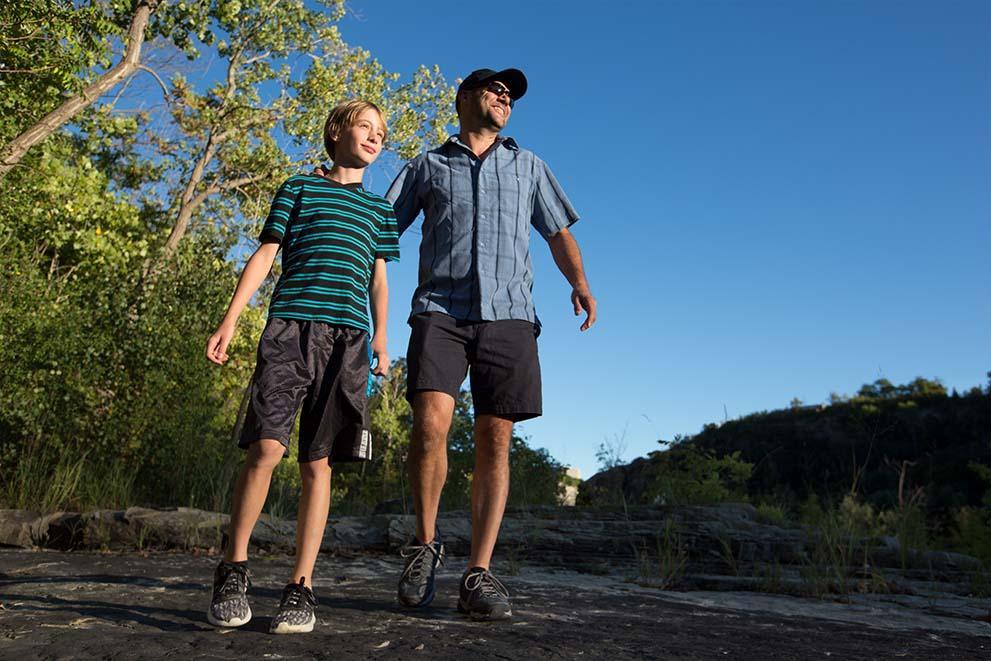 father and son hiking in niagara falls
