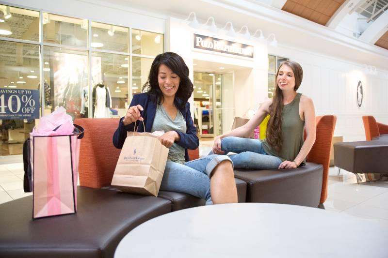 Pair of women shopping at Niagara Falls mall.